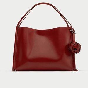 ZARA Tasseled Leather Tote Bag